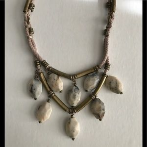 💍 J.CREW stone and brass bead necklace NEW